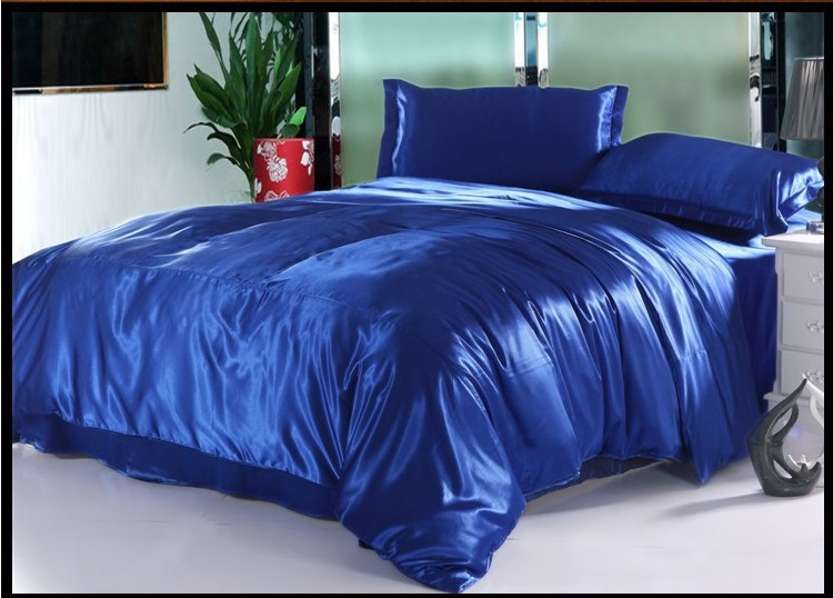Royal Blue Natural Silk Bedding Set Luxury Cal King Size