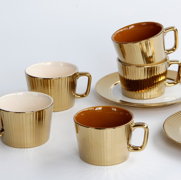 European luxury golden ceramic cup for high-end hotel, ion gold-plated Nordic style mug for gifts