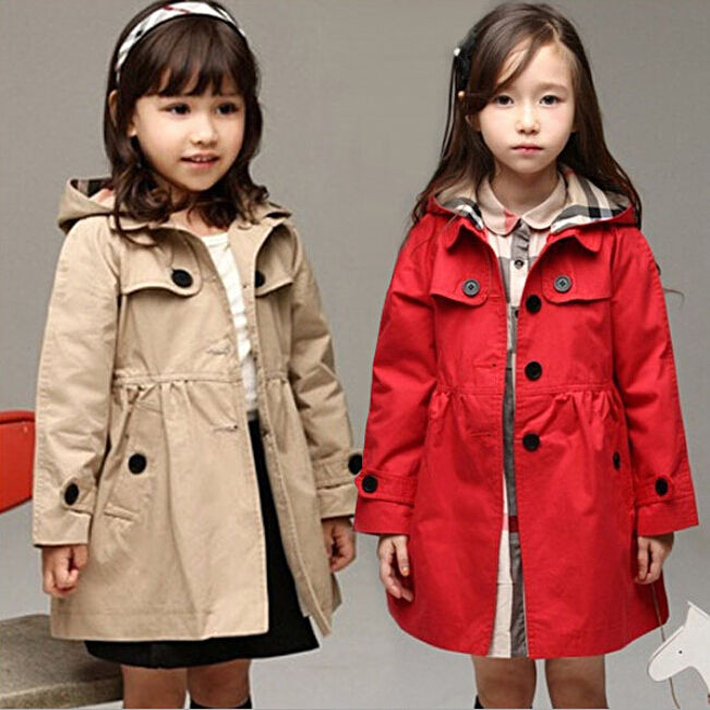 Baby Toddler Girls Trench Coat Kids Girl Winter Warm Jacket Windbreaker Outerwear Girls Clothes Hooded Long