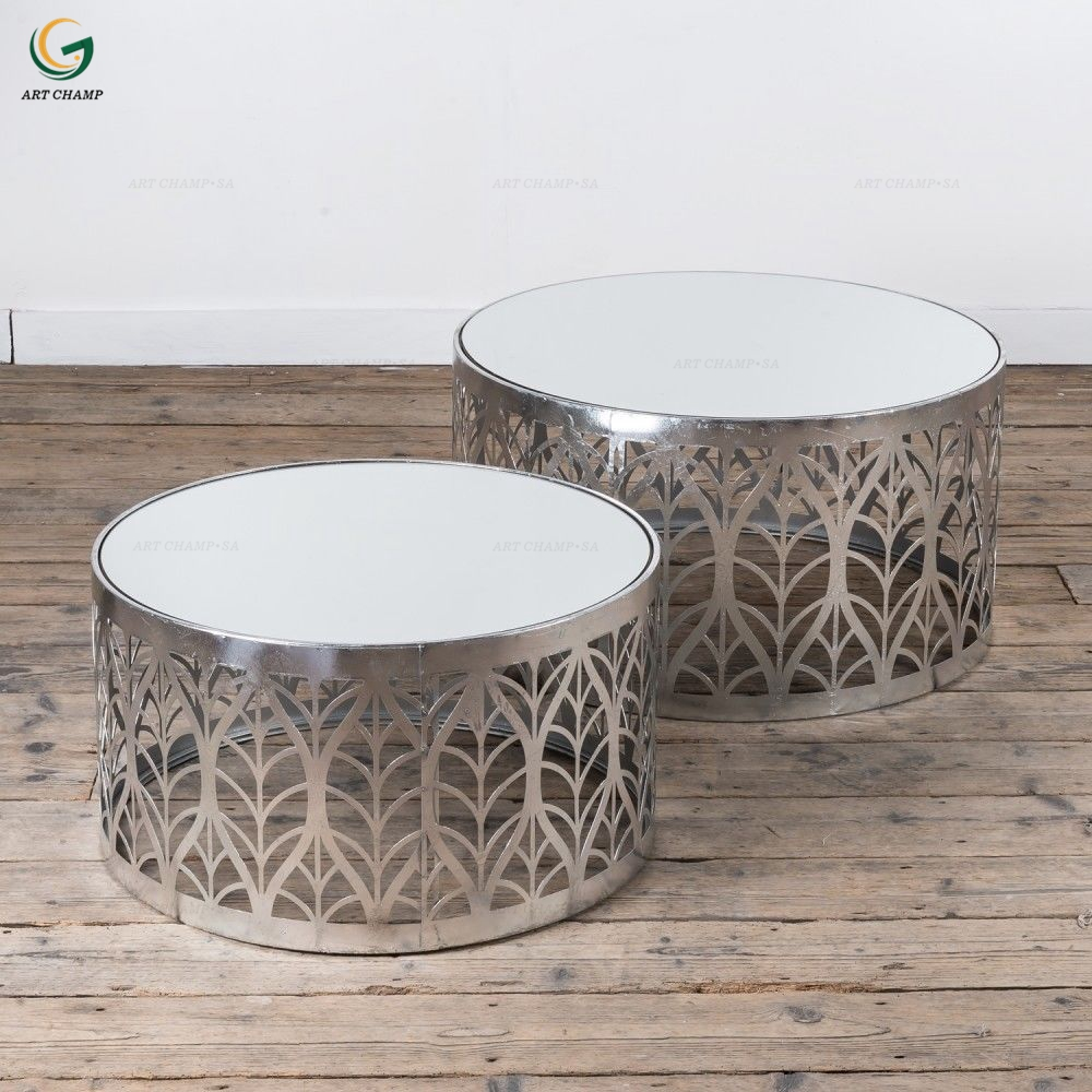 Set 2 Leaf Art Deco Style Silver Metal Glass Top Round Side Coffee Table For Hall Furniture Buy Metal Side Table Product On Alibaba Com
