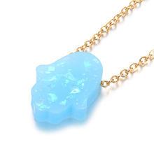 Многоцветная Опаловый камень Хамса кулон ожерелье рука Фатимы 100% золотая цепочка из нержавеющей стали чокер подарки Femme(Китай)