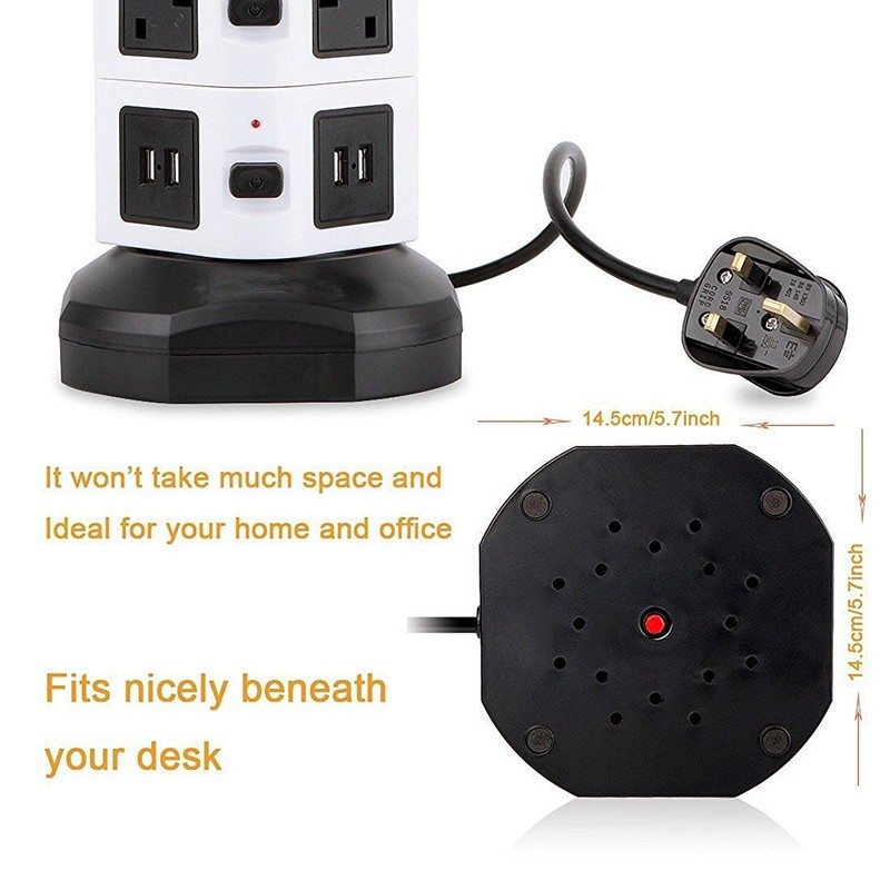 Power Adapter USB Charging Ports and Individual Switches Rotatable Vertical Tower Power Strip CE FCC SOSA