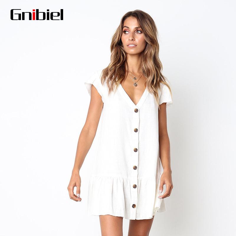 033a0c1dbe GNIBIEL Women S Summer Dress Short Sleeve V Collar Pleated Dress ...