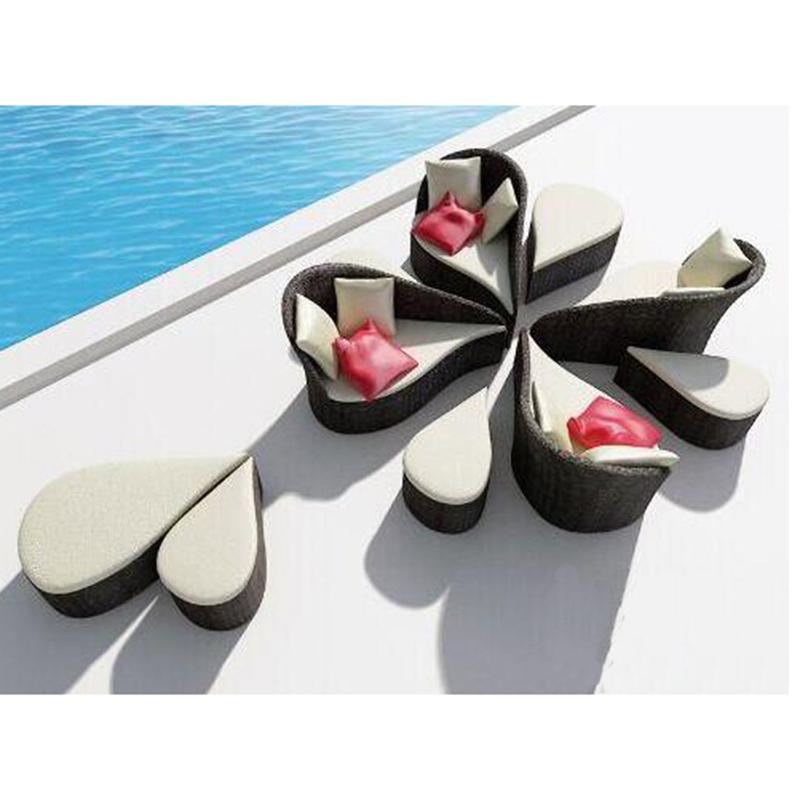 Новый дизайн, уличная Подсолнечная кровать из ротанга, комплект мебели, плетеный пляжный диван