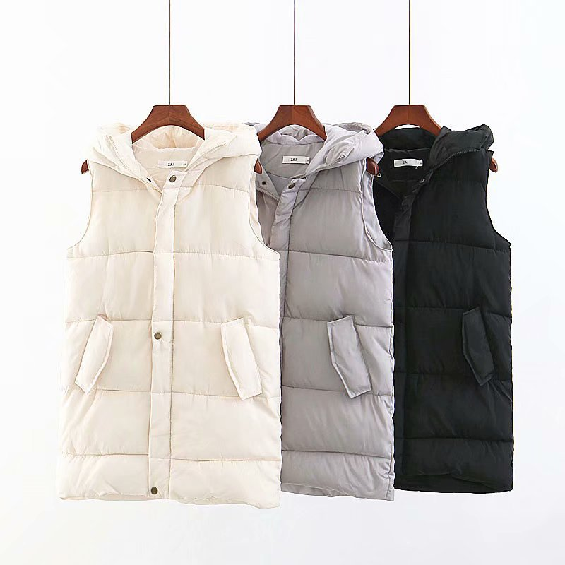 Hao Baby Down Vest Autumn And Winter New Long Hooded Vest Down Jacket Women Thick Warm Vest