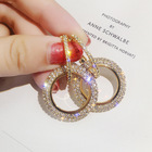 2021 Fashion Gold Jewelry Plated Aretes Elegant Diamond Drop Earring Double Hoop Circle Rhinestone Earrings for Women