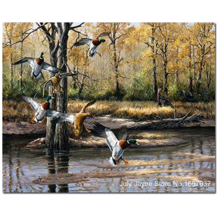 Flying Duck Painting Wild ducks flying to a lake