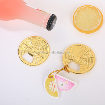 Ywbeyond Golden Lemon Slice Bottle Opener Citrus Slice Beer Bottle Opener wedding giveaways Bridal Shower favor