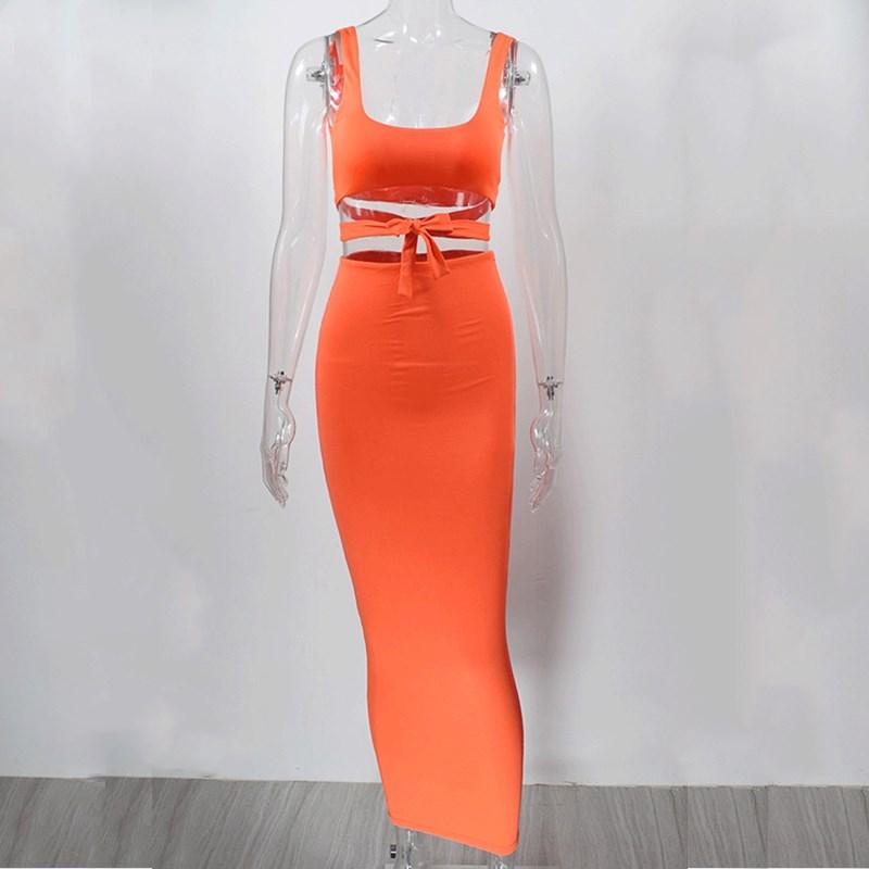 NewAsia/комплект из двух предметов, комплект одежды из двух предметов для Женский комплект 2 шт.: укороченный топ и юбка, комплекты летней одежды...(Китай)