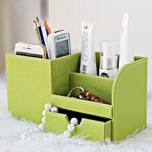 Деревянный ПУ Кожаный многофункциональный стол канцелярский Органайзер коробка для хранения Ручка Пенал держатель чехол(Китай)