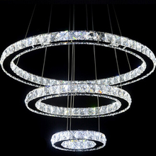 3 Rings Crystal LED Chandelier Light Fixture Crystal Light Lustre Hanging Suspension Light for Dining Room, Foyer, Stairs