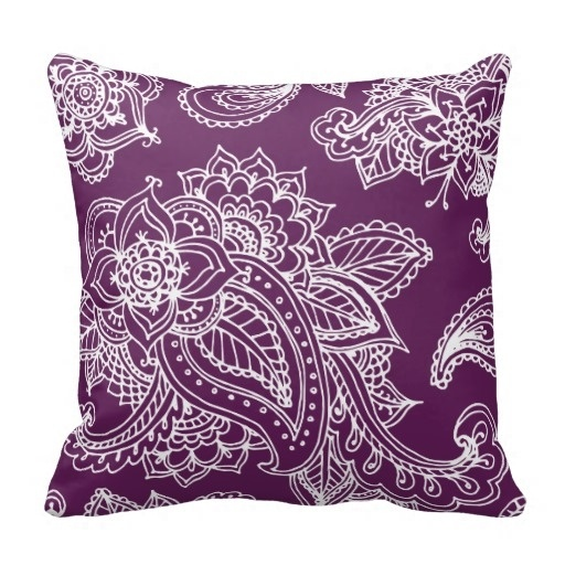 Pillows Cover Plum Purple Illustrated Bohemian Paisley Henna Throw Pillow Case (Size: 20