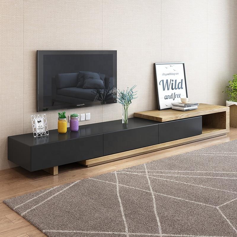 New product living room cabinet modern wooden frame black TV stand furniture