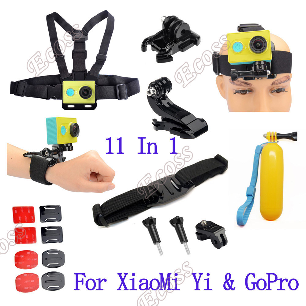 Xiaomi yi accessories set action camera xiaomi yi set bobber stick helmet strap Adapter mount For GoPro & Sport Camera xiaomi yi