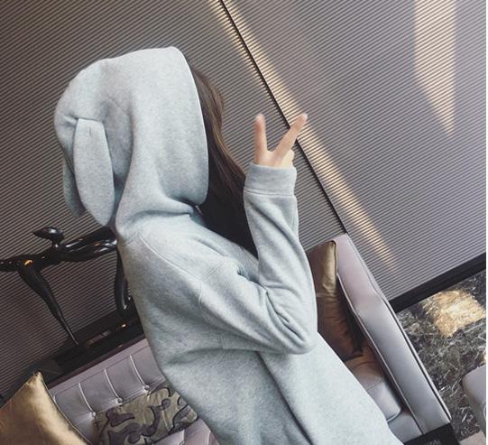 woman customized logo rabbit ear long sleeve pure color hoodie