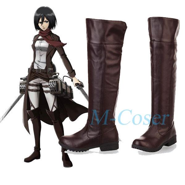 Attaque d'anime sur Titan Cosplay bottes Bota Shingeki no Kyojin Eren Jaeger Ackerman genou longueur Cosplay chaussures pour femmes hommes