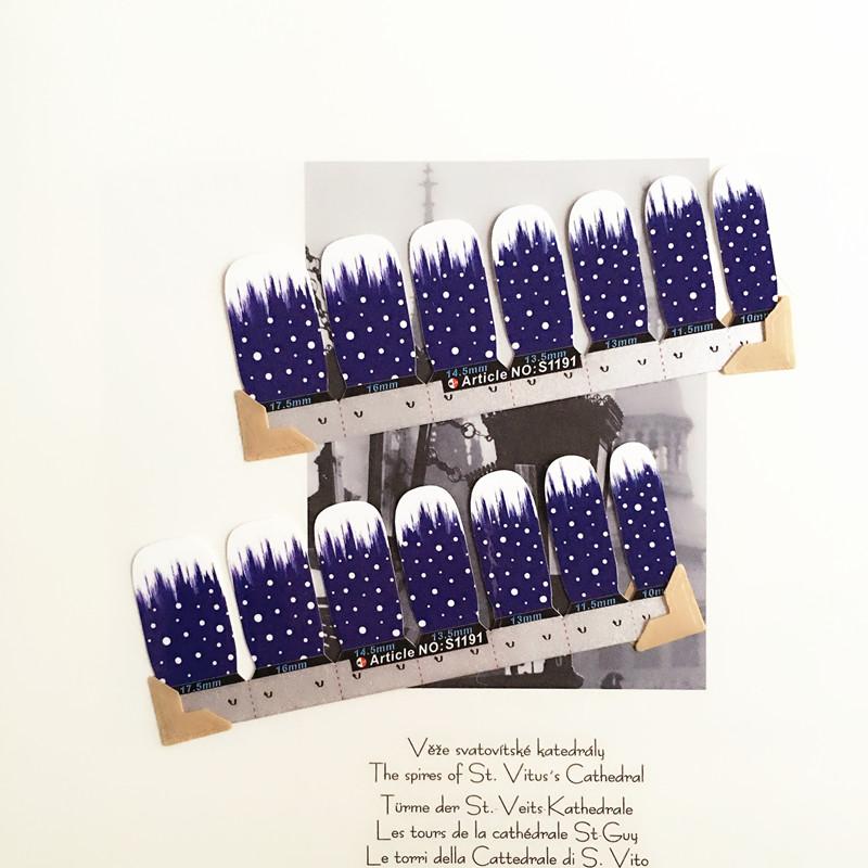 White Blue White dot Nail Arts Nail Sticker Waterproof Nail Decal Sticker Gel Polish French Manicure