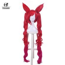 Головной убор ROLECOS LOL Jinx, Синтетический волос для косплея, волшебная девушка, 100 см/39,37 дюйма, синтетические волосы, красное жару(Китай)