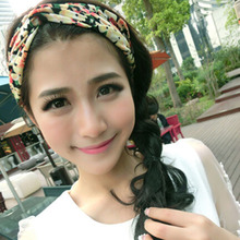 1 X 2015 Fashion Women Girl Hair Accessories Yoga Elastic Turban Floral Twisted Knotted Hair Band Headband