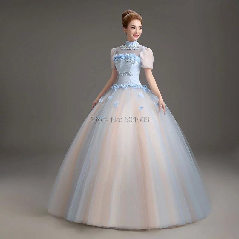 Medieval Renaissance Light Blue And White Gown Dress: Aliexpress.com : Buy Light Blue Collar Bubble Medieval