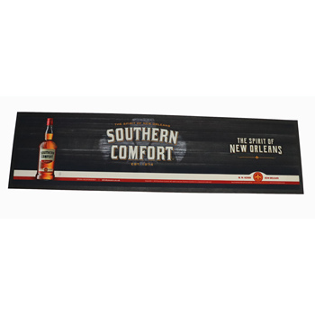 Sedex 4 pillar knitted polyester felt fabric full colour printed Southern comfort bar runner and bar mat