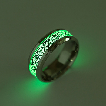 Glow In The Dark Dragon Texture Male Silver Ring Polishing Stainless Steel Ring Man