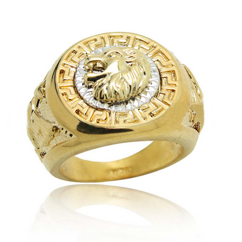 Vintage Fashion Lion Head Rings For Men Plated Gold/Silver