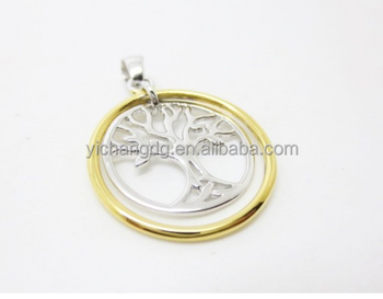 Round Tree of life Family Necklace14K Yellow Gold overlay Pendant