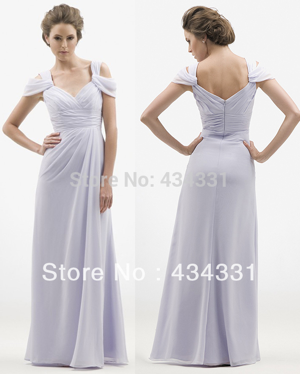 Elegant A Line V Neck White Long Chiffon Coral Formal ...