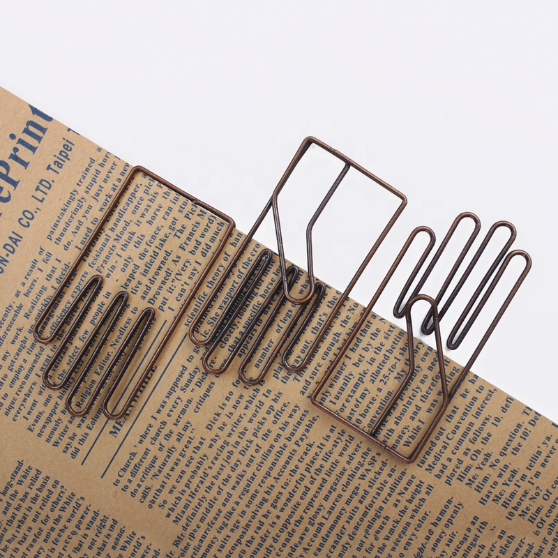 ShenZhen Stargood paper clip factory Antique brass plated big size hand shape paper clips