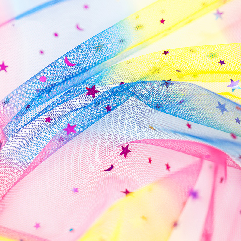 Colorful shiny moon star mesh sequins net tulle fabric for wedding dress costume decorative