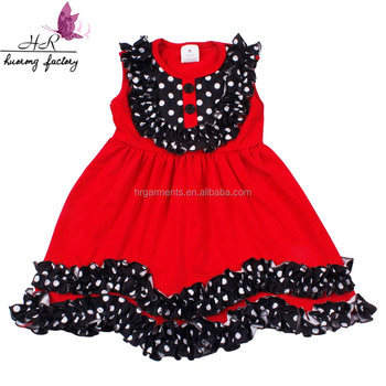 2018 Latest Design Kids Baby-Girls' Sweet Summer Casual Clothes Red Cotton Children Girl Dress