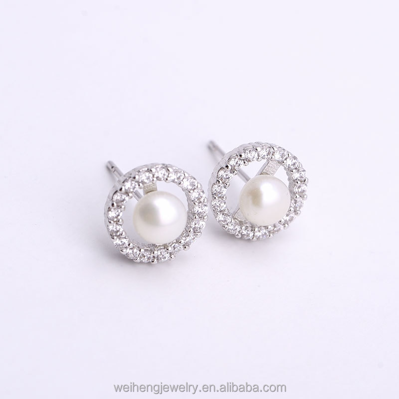 Pearl Jewelry Pearl with 925 Sterling Silver Earrings,Stud Earrings Fashion Jewelry Pearl Earrings for Women Gold Flowers Pearl Earring