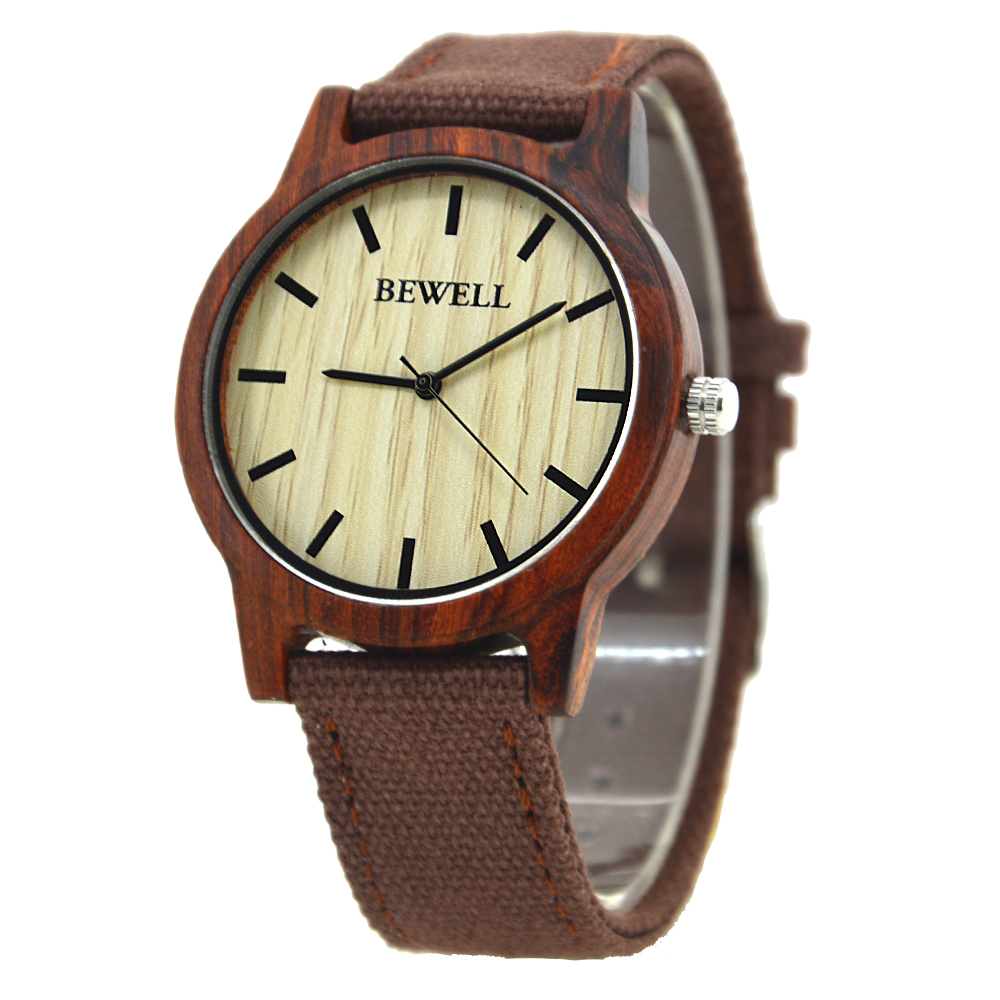 7b2706466 BEWELL Casual Wood Watch Men Canvas Band Mens watches top brand ...