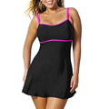 Women Big Size Swim Dress Chest Padded Strap Slim Dress with Panties One piece Monokini Swimsuit