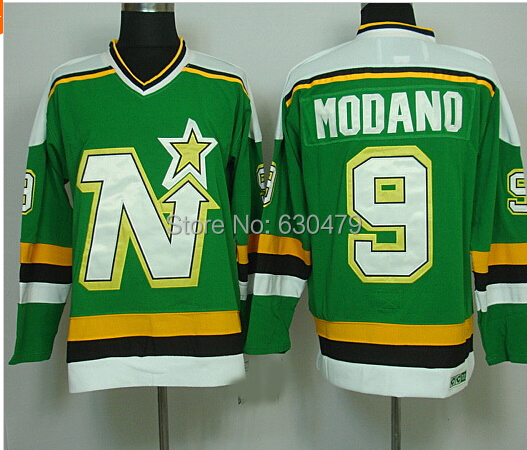 ... AliExpress Mens hockey jerseys Dallas Stars Minnesota North Star 9 Mike  Modano Vintage throwback home . 25598785b