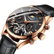 Изысканные брендовые часы GUANQIN 2019 для мужчин, автоматические/механические/премиум-класса, мужские позолоченные часы с турбийоном(Китай)