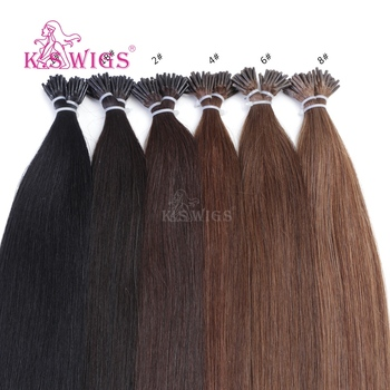 K.SWIGS 20 Inch Dark Color I Tip Hair Extensions 1gr I-Tip Hair Double Drawn I Tip Hair