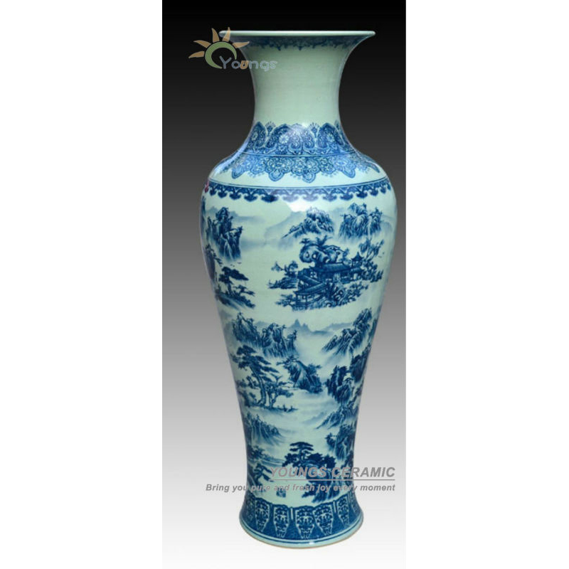 1 Meter Tall Blue White Porcelain Crackle Glazed Floor Flower Vase With Landscape Design Buy Tall Indoor Vases Home Decor Floor Vases Ceramic Tall Floor Vases Product On Alibaba Com