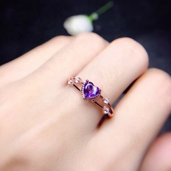 Caoshi Elegant Stylish Heart Ring Two Layers Stacking Ring Amethyst Ring 925 Silver