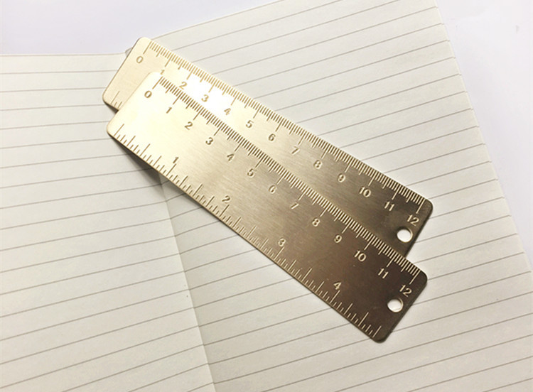 Винтажная латунная Удобная прямая Линейка, школьная медная металлическая Закладка, см дюймовая двойная шкала