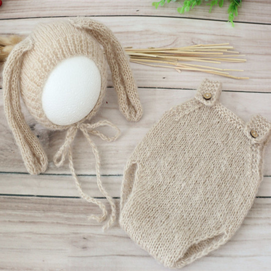 Bunny bonnet Bunny pants and hat,Knitted baby  outfit newborn Photo Prop