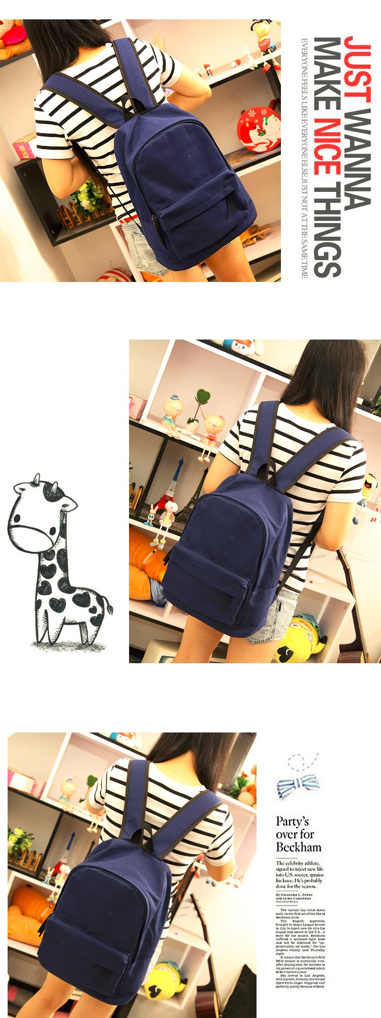 3e06aeb9da Simple Korean style pure candy color women backpack college student ...