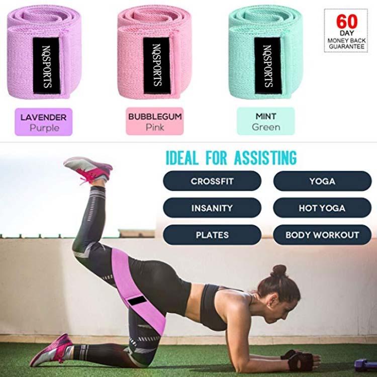 3 упаковки супер эластичных Противоскользящих тканевых эластичных лент для упражнений для тренировок на бедре