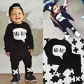 Toddler Baby Boys Hi hi Long Sleeve Tops T shirt Pants 2pcs Outfits Set Costume