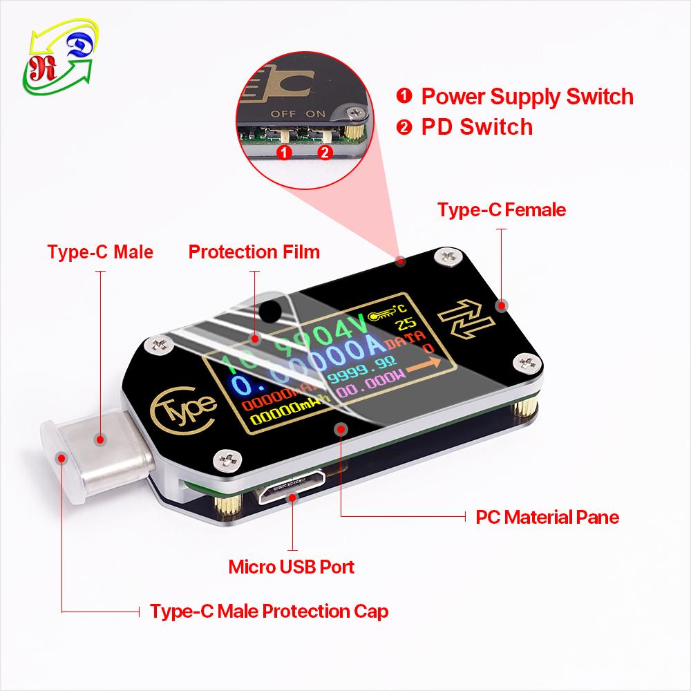 RD TC66 Type-C USB communication PD trigger voltmeter ammeter voltage current meter multimeter PD charger battery USB Tester