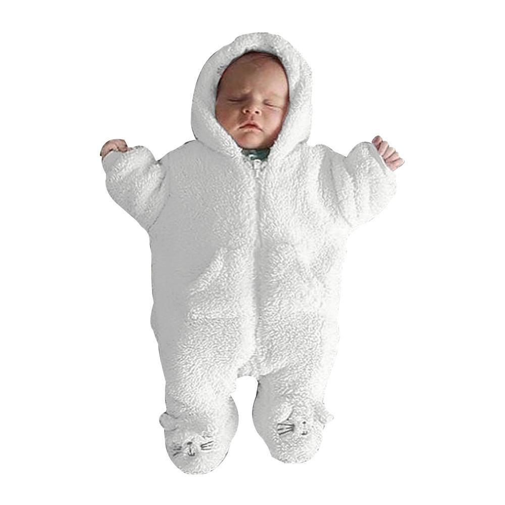 b1f50cf95ca22 Newborn Infant Baby Boy Girl Hooded Cartoon Flannel Romper Jumpsuit Warm  Clothes Vetement Bebe Garcon Girls Baby Clothes
