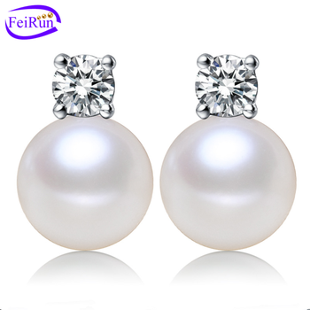 925 sterling silver aaa white fresh water cultured natural real freshwater drop stud jewelry earings pearl earrings for woman