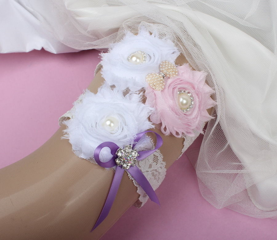 White Wedding Garter: Stunning Pink White Flower Ribbon Wedding Garter Belt Set