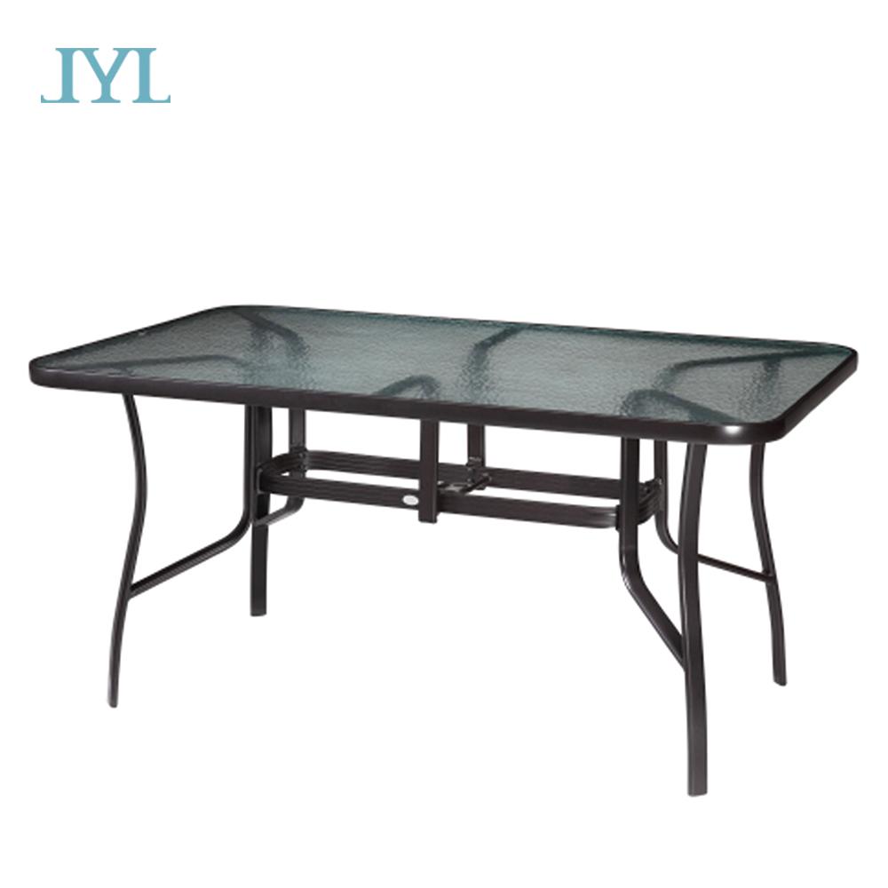 glass top design restaurant outdoor cast aluminum vintage dining furniture garden table
